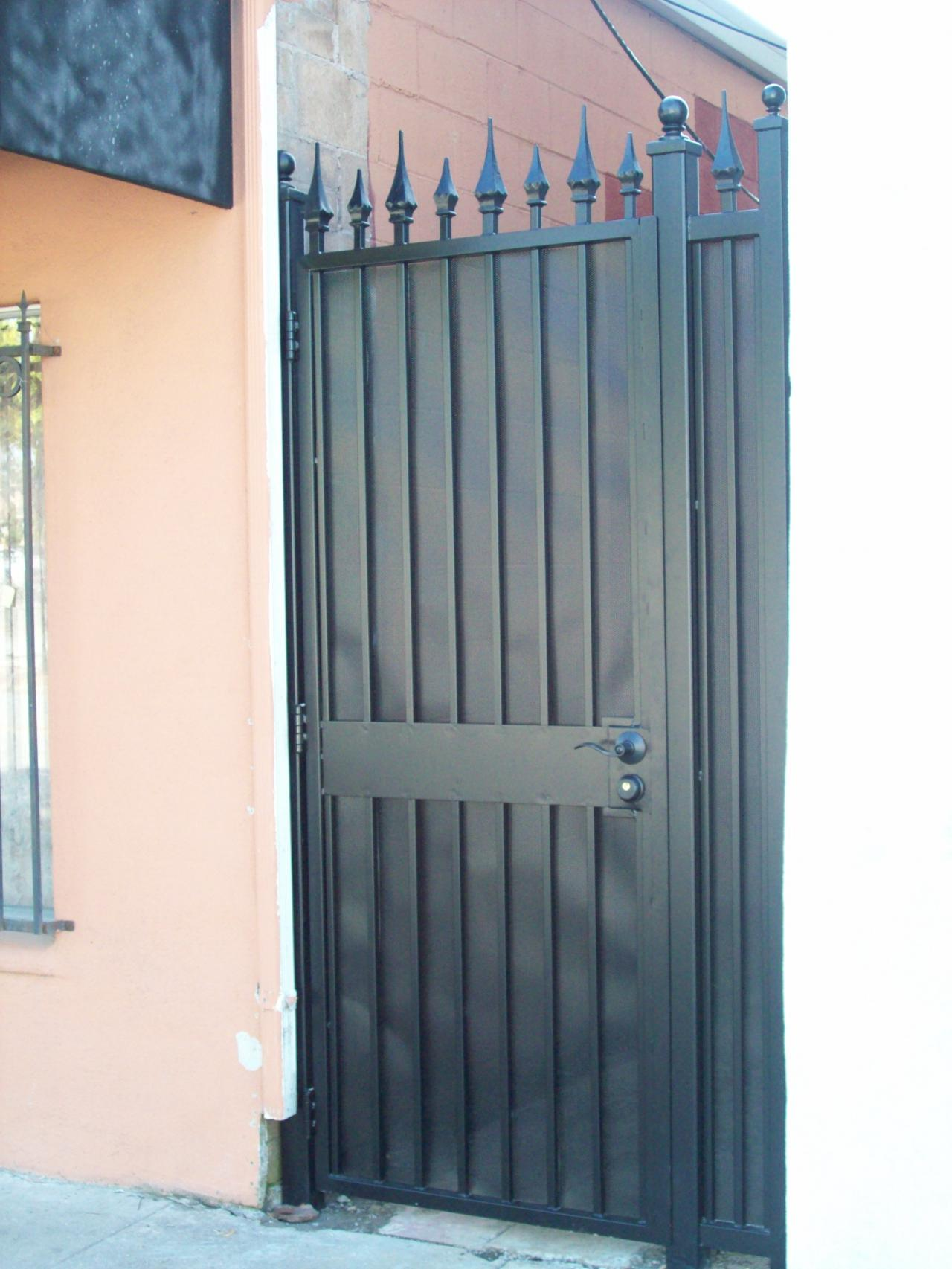 El Paso Custom Iron Works Gates. Full resolution‎  image, nominally Width 1280 Height 1706 pixels, image with #996132.